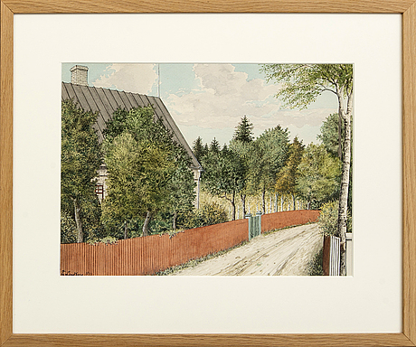 Frans lindberg, watercolor, signed, dated 1933.