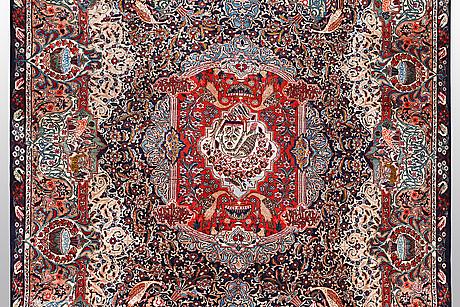 A carper, kashmar, signerad, ca 406 x 298 cm.