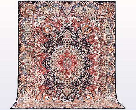 A carpet, kashmar, ca 390 x 305 cm.