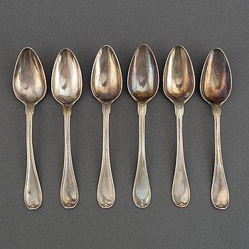 6 swedish silver dessert spoons, mark of Pehr Zethelius, Stockholm 1799.