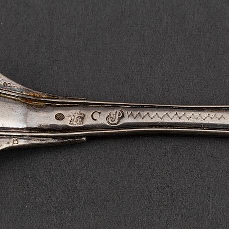 Dessertgafflar, 5+1 st, silver, bl a petter julin, köping 1761.