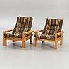 Sven larsson möbelshop, a pair of pine 1970s armchairs.