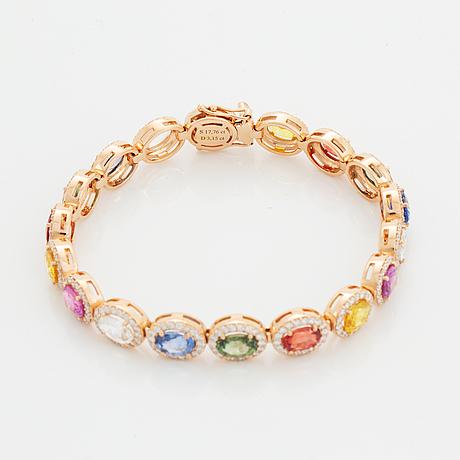 Multi coloured colour sapphire and diamond bracelet.