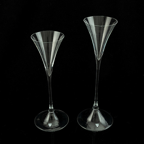 Two glass candleholders by gunnar cyrén, orrefors, designed for the nobel  table setting.
