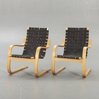 Alvar Aalto,  fåtöljer, ett par, modell 406, Artek, formgiven 1939.