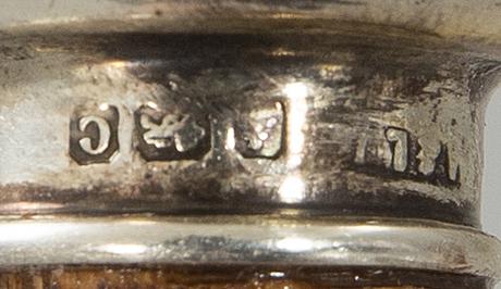 Käpp, ca 1900, england london, silver, malakit.