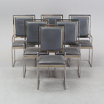 Six contemporary steal and leather armchairs.