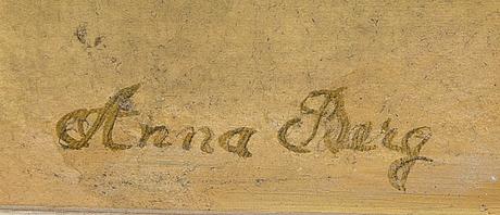 Anna berg, olja på pannå, signerad.