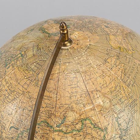 "A mid 20th century world globe, ""dr neuse's globus"", svenska bokhandelscentralen, sweden."