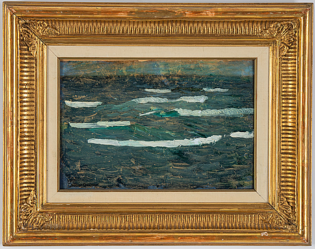 Helmer osslund, oil on grease proof paper on panel, signed.
