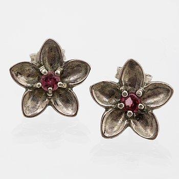 Tiffany & Co, örhängen, sterling silver rosa stenar, bredd ca 15 mm, original ask.