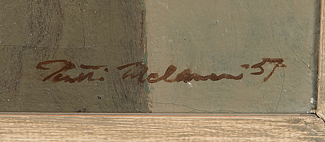 Pentti melanen, olja på duk, signerad och daterad -57.