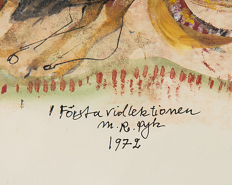 Madeleine pyk, mixed media, signed and dated 1972.