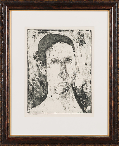 Unto koistinen, etching, signed and dated 1953, numbered 3/10.