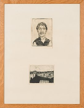 Unto Koistinen, two etchings, signed and dated 1945 and 1954, numbered 3/10.