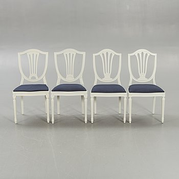 A set of four similar Gustavian style chairs later part of the 20th century.