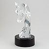 A lalique tête de cheval glass horse head sculpture, signed.