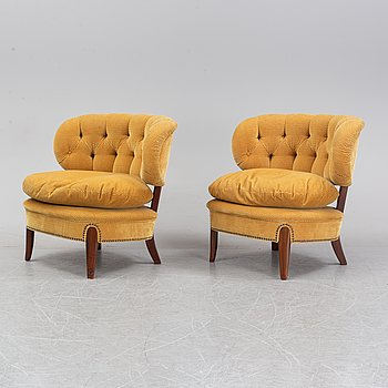 A pair of 'Schulz' easy chairs by Otto Schulz for JIO, second half of the 20th Century.