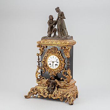 A neorenaissance gilt bronze mantel clock, second half of the 19th century.