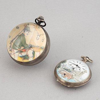 Watches, 2 pcs, Erotic motif.
