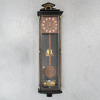 A lacquerwork wall pendulum clock, late 19th Century.