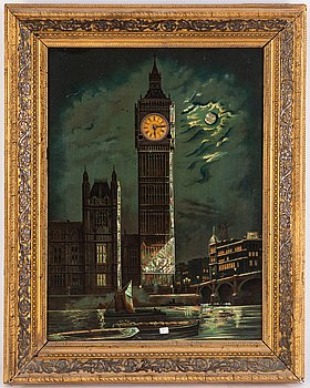 A 20th Century novelty wall clock with lithographed Big Ben.