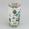 A famille rose six sided hat stand, qing dynasty, early 20th century.