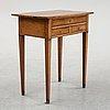 A gustavian mahogany veneered seewing table, early 19th century.