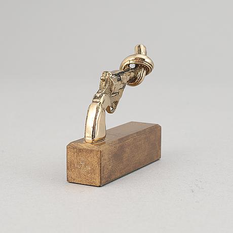 Carl fredrik reuterswärd, sculpture 'non violence', skultuna, signed.