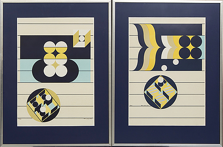 Beck & jung, two serigraphs in colours signed dated and numbered 78 and 113/125 1974.