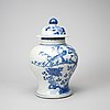 A chinese blue and white kangxi-style jar with lid, 20th century.