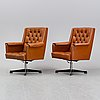 A pair of easy chairs, ring möbelfabrikk, norway, second half of the 20th century.