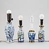 Four different vases, turned into table lamps, qing dynasty, late 19th/early 20th century.