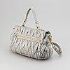 Miu miu, a grey letaher handbag.