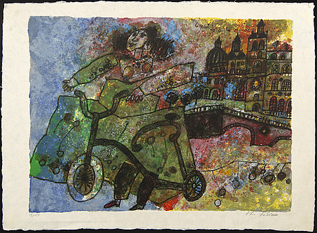 Theo tobiasse, lithograph in colours signed and numbered 39/150.