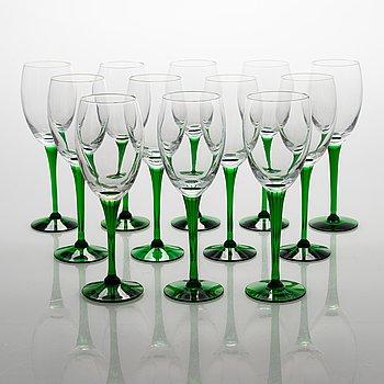 Saara Hopea, A 12-piece set of 'Traviata' wine glasses, Nuutajärvi, Finland.