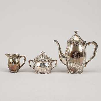 Kaffeservis, 3 delar, silver, Eric Kalb Eftr, Halmstad 1938.