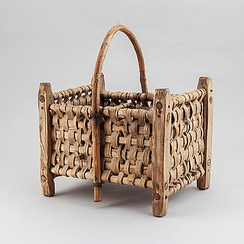 A possibly french wine basket, mid 20th century or earlier.