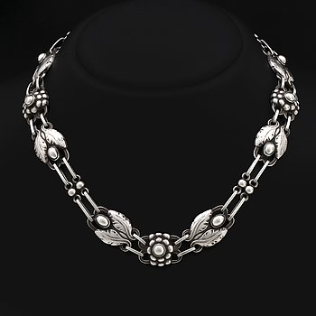Georg Jensen,necklace sterling silver, design no 1, approx 40 x 1 cm.