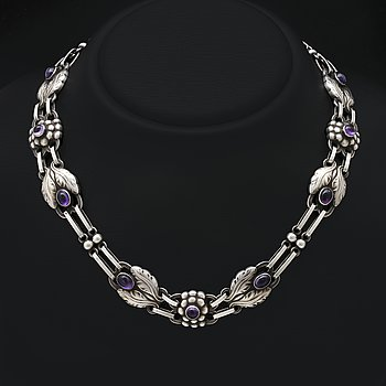 Georg Jensen,necklace sterling silver and amethystes, design no 1, approx 43 x 1 cm.