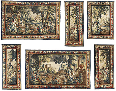 """Tapestries, 6 pcs., """"verdures"""", tapestry weave, aubusson first half of the 18th century."""