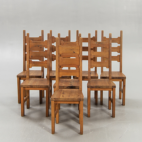 A set of eight pine chairs later part of the 20th century.