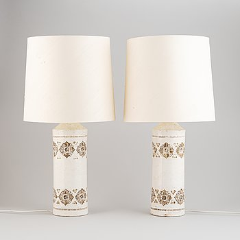 A pair of stoneware table lamps, Bitossi for Bergboms, 1960's-70's.