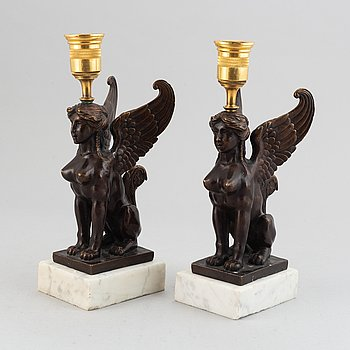 A pair of presumably Russian Empire candlesticks, early 19th Century.