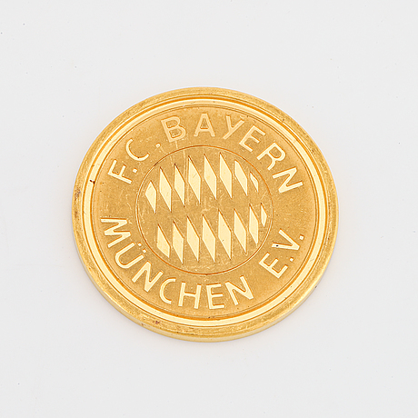 A gold commemorative medal, bayer munich 90 years 1900-1990.