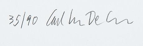 Carl johan de geer, färglitografi, signerad 35/90.