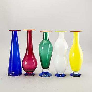 Anne Nilsson, a set of five glass vases Orrefors late 20th century.