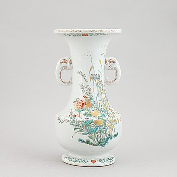 A Chinese famille rose vase, late 20th century.