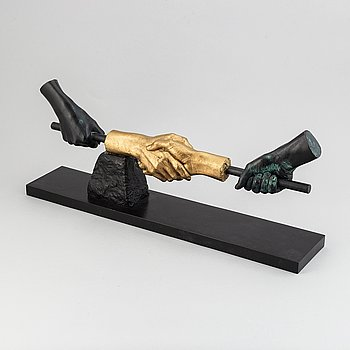 Carl Fredrik Reuterswärd, sculpture, bronze, signed and numbered 36/69. Foundry mark Fonderia M Italy.
