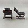 "Armchairs, a pair, ""kroken"", åke fribyter, nelo, knislinge, second half of the 20th century."